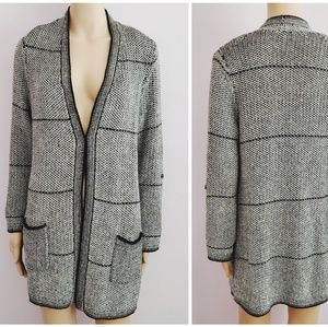 Chico's Gray Long Open Cardigan Sweater Size 1